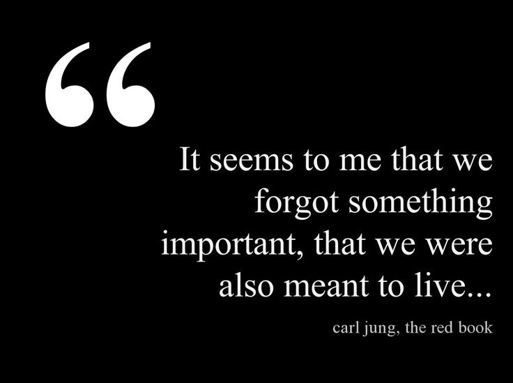 """It seems to me that we forgot something important, that we were also meant to live."" ~Carl Jung, The Red Book ..*"
