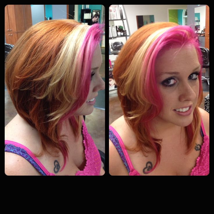 Hot Pink Hair With Blonde Platinum Hair And Red Copper
