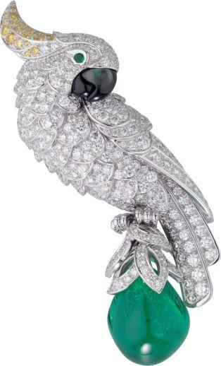 Cartier Fauna and Flora brooch Platinum, emerald, mother-of-pearl, diamonds