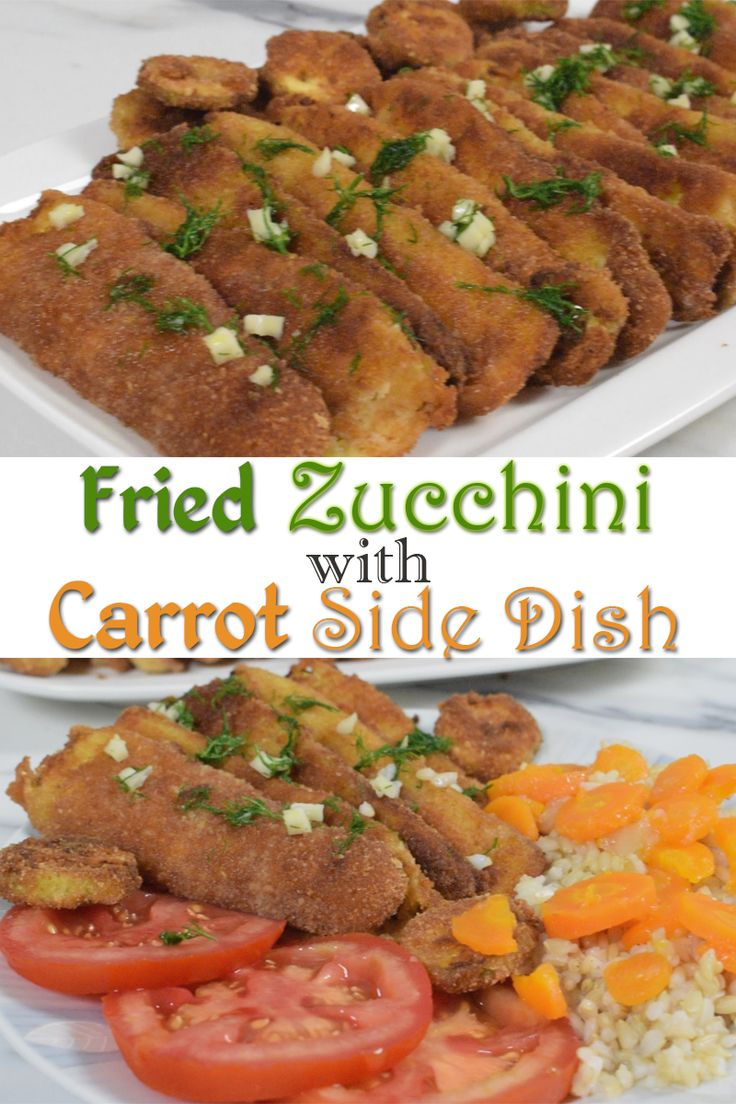 Fried Zucchini with Carrot Side Dish - Fried Zucchini, with garlic-dill dressing, served with rice, and a bit sweet and salty carrot side dish, is easy, delicious lunch or dinner, family favorite that i make often.