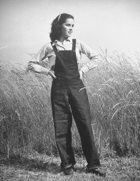 Several WW II images of women in overalls in the August 2009 post