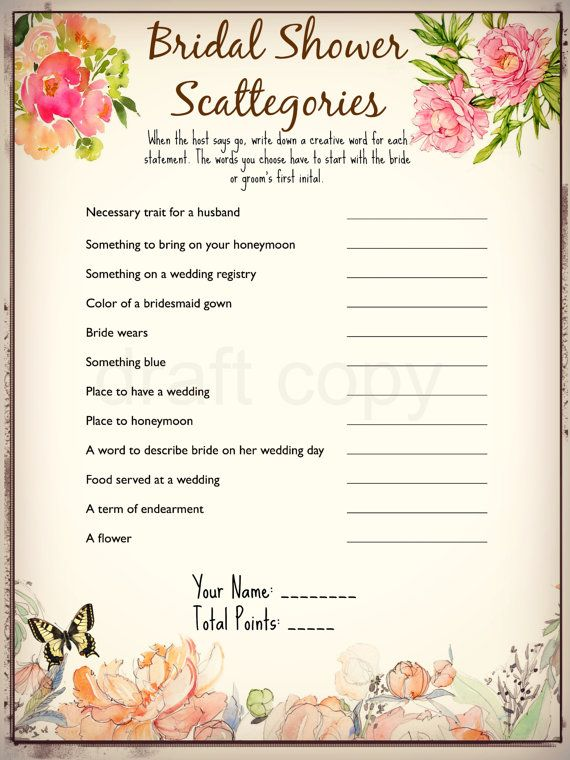 Bridal Shower Scattegories Instant Download by 31Flavorsofdesign