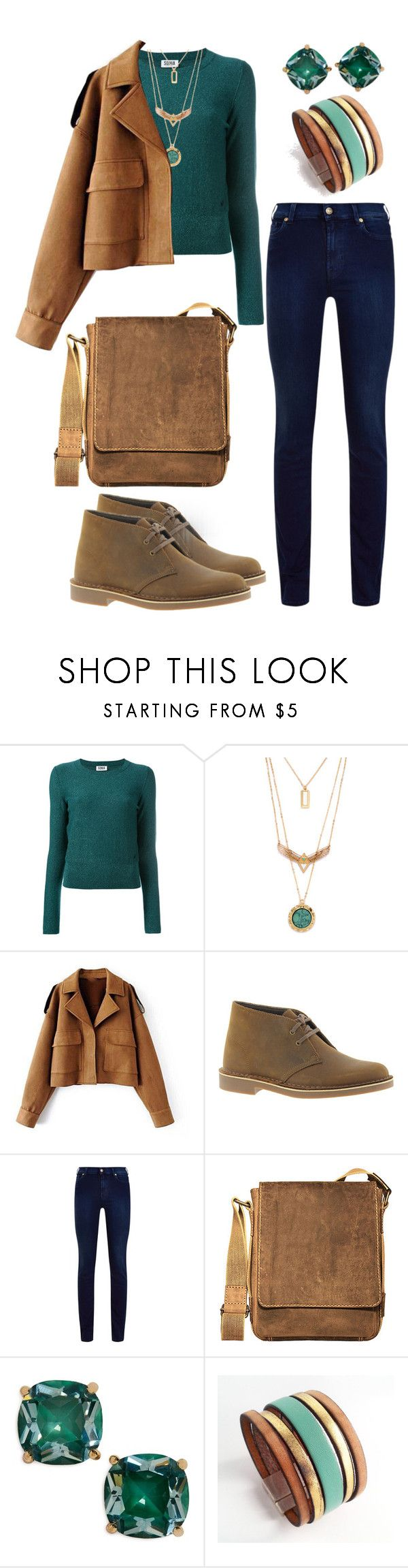 """Forest Inspired"" by aimee716 ❤ liked on Polyvore featuring Sonia by Sonia Rykiel, Clarks, 7 For All Mankind, Jack Georges, Kate Spade, casual, autumn and forest"