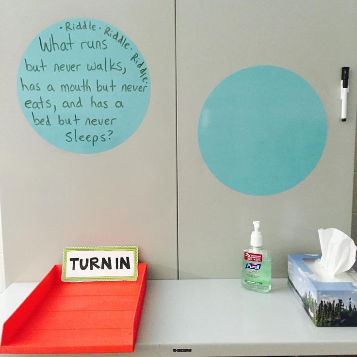 I placed these dry erase decals on my metal cabinets and write riddles, jokes, birthday announcements, and quotes on them daily. It is the first thing that my students look at when they walk into my class in morning!