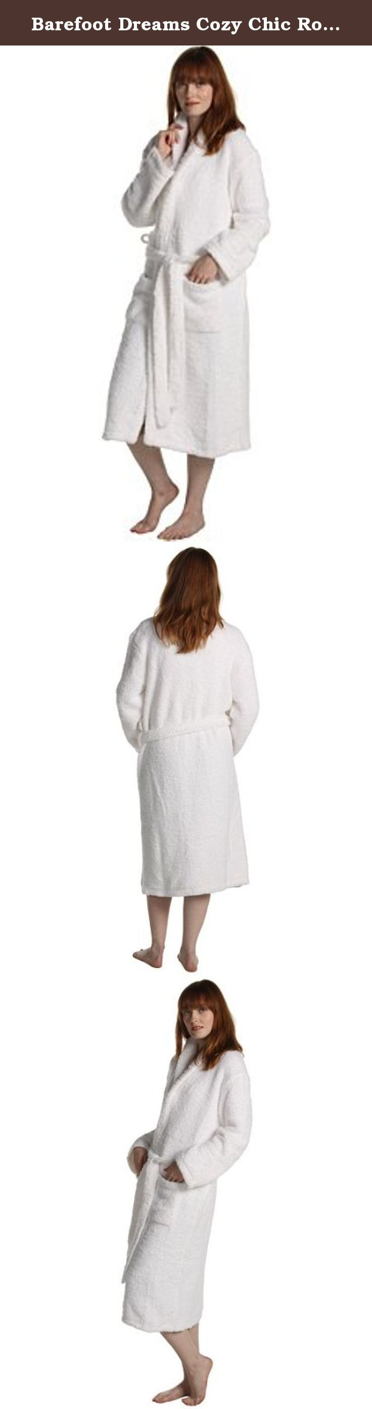 """Barefoot Dreams Cozy Chic Robes - Color: White, Size: 2. Envelop yourself in a lush sumptuous Cozy Chic Grown Up Robe and watch the cares of the world fade away. Made of the famous CozyChic knit, the Grown Up Robe is shawl collared, double belt looped, washable and dryable. Great year-round gift for all occasions: Christmas, Valentine's Day, Mother's Day, Father's Day, or an elegant birthday, wedding or house warming gift. Size 1 = 5'6"""" and under, approx length 42""""; Size 2 = 5'6"""" to 6'0""""..."""