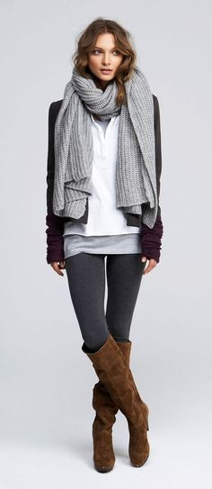 So casual! Love. Need clothes like this: grey leggings; long grey tank, size to big white shirt buttonup large scarf grey cardigan