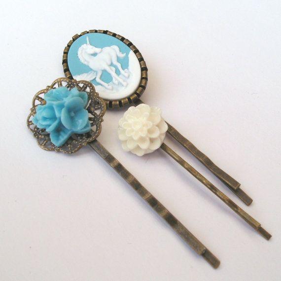 Blue Unicorn Bobby Pin Set Blue Bobby Pins White by TemporalFlux