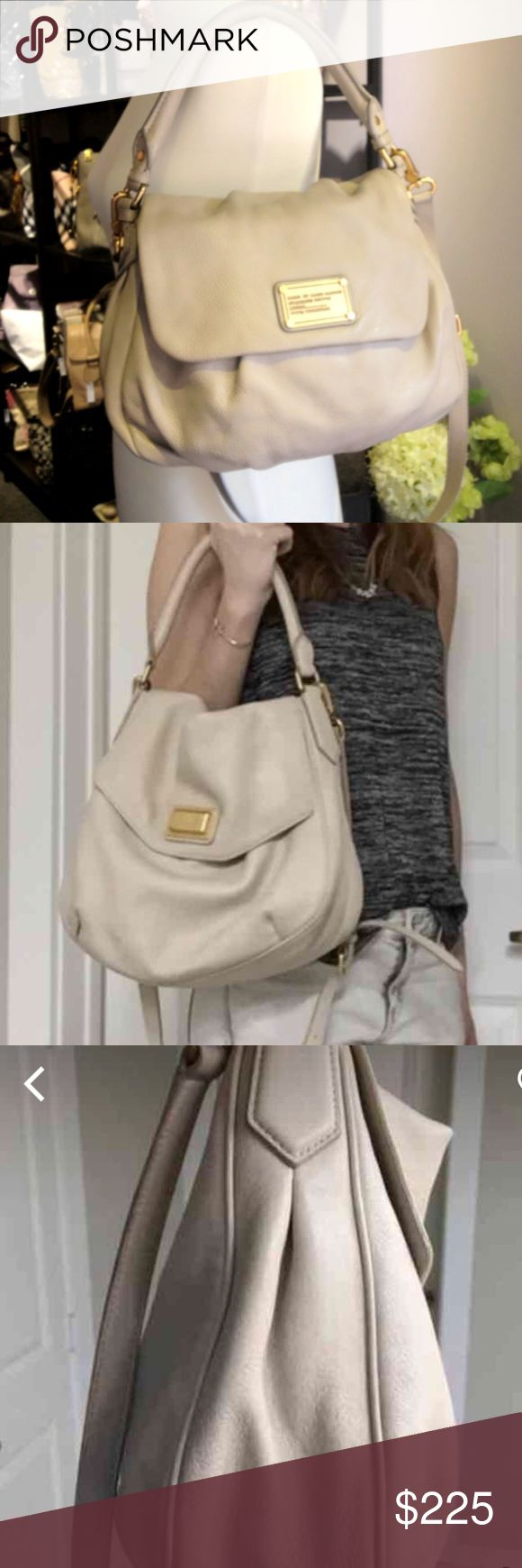 MBMJ leather bag Preloved but in great condition except for a couple of pen marks inside. Light stone/cement color. Perfect for summer. First  pic is a stock pic for exposure. Last pics are actual bag. Will ship with detachable strap Marc by Marc Jacobs Bags Crossbody Bags