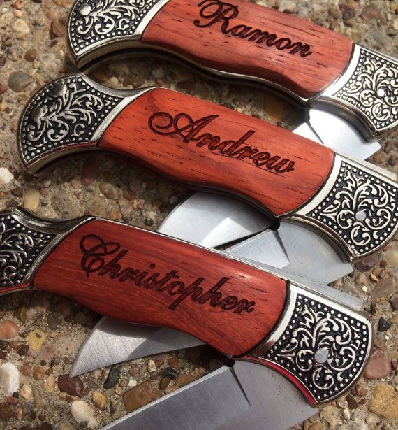 Personalized Groomsmen Gifts - 1 Custom Engraved Wood Handle Pocket Knife, Hunting Knives, Engraved Folding Knife, Folding Knife, Groom Gift $22.99/Each