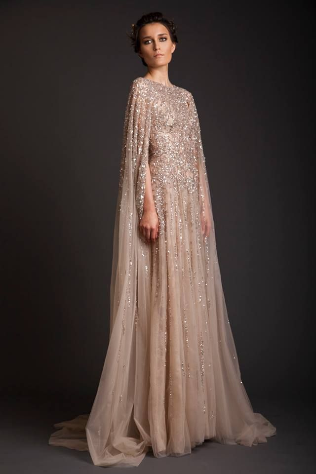 Modern Champagne Tulle Dress with Metallic Details | http://brideandbreakfast.ph/2014/09/12/fashion-friday-krikor-jabotian-spring-2014/
