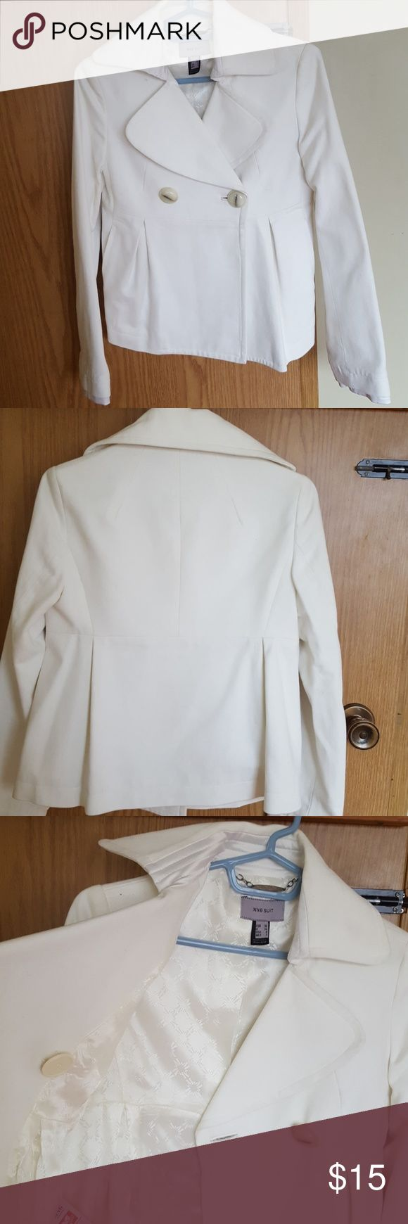 Mango white spring coat. White coat. Fits below hips. Pockets. Inner lining. Button enclosure with spare button. Worn once. Fits like a size small. Some stains but could be removed via dry cleaning. Mango Jackets & Coats