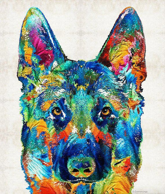 German Shepherd Art Colorful Print From Painting Rainbow Dog Etsy German Shepherd Art Dog Art Rainbow Dog