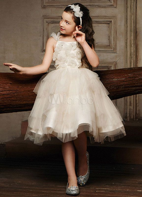 Flower Girl Dress Champagne Princess Straps Tulle…