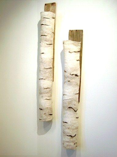 Cathrine Berg : Konsthantverkscentrum - Väggdekoration i ull och trä, Två björkar