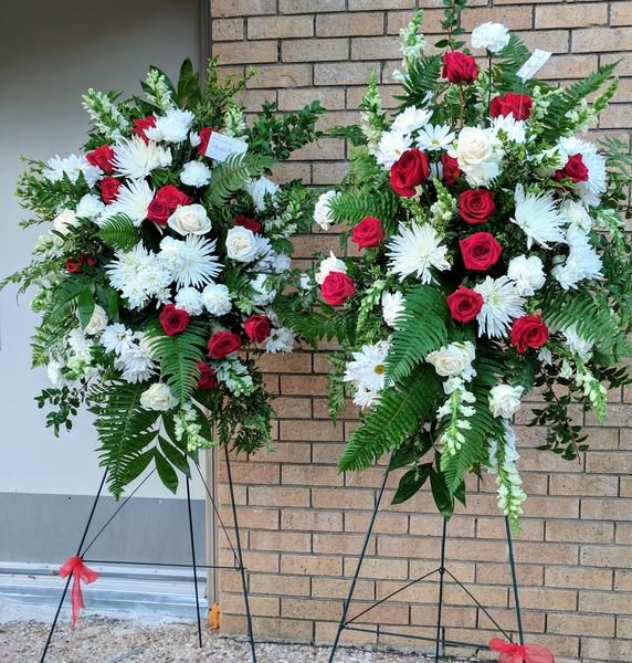 White And Red Standing Spray Flora Funeral Flowers Are Happy Funeral Flowers Funeral Flower Arrangements Casket Flowers