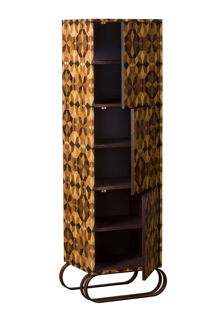 KALEIDOS Cabinet | Tall cabinet with three doors and a shelf behind each one. Multi-layer poplar structure decorated entirely by hand using an ancient inlaid wood technique. The natural tone of the wood is enhanced by a water based finishing. The interior can be customized with different patterns, wood, metals, leather and others. Rusty finished iron base varnished with a water based paint. Also customizable with wooden invisible feet. #wood #design #interiordesign #furniture #home #cabinet