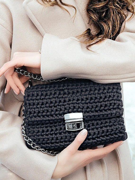 Crochet Crossbody Bag    Crochet Clutch Bag  Graphite Grey