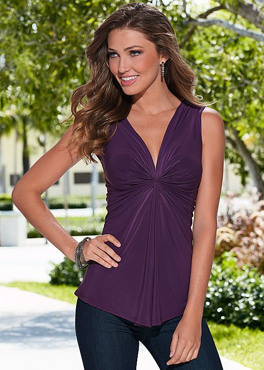 Purple Draped v neck top from VENUS. Available in sizes XS-XL!