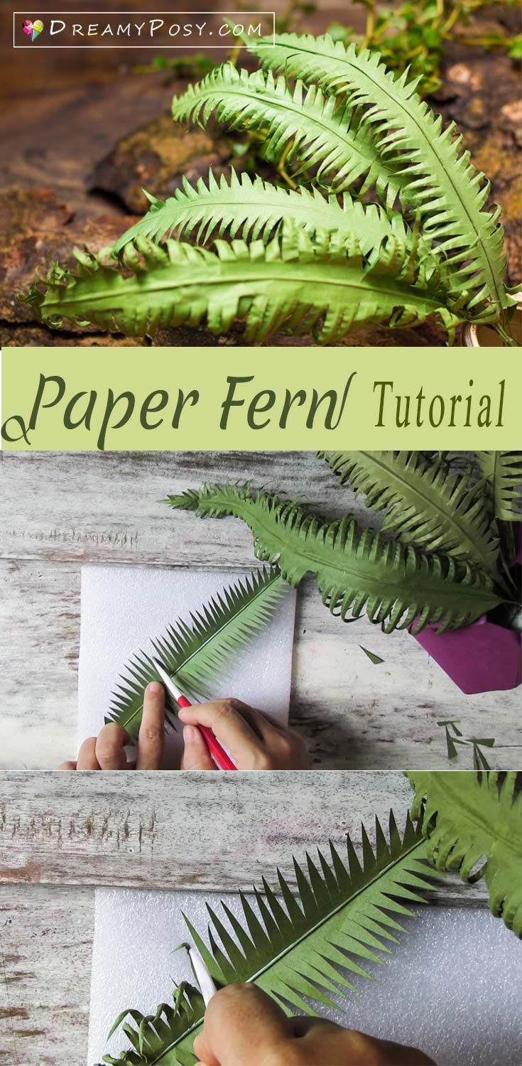 Paper fern tutorial, super easy, paper leaves, paper flower #paperflowers