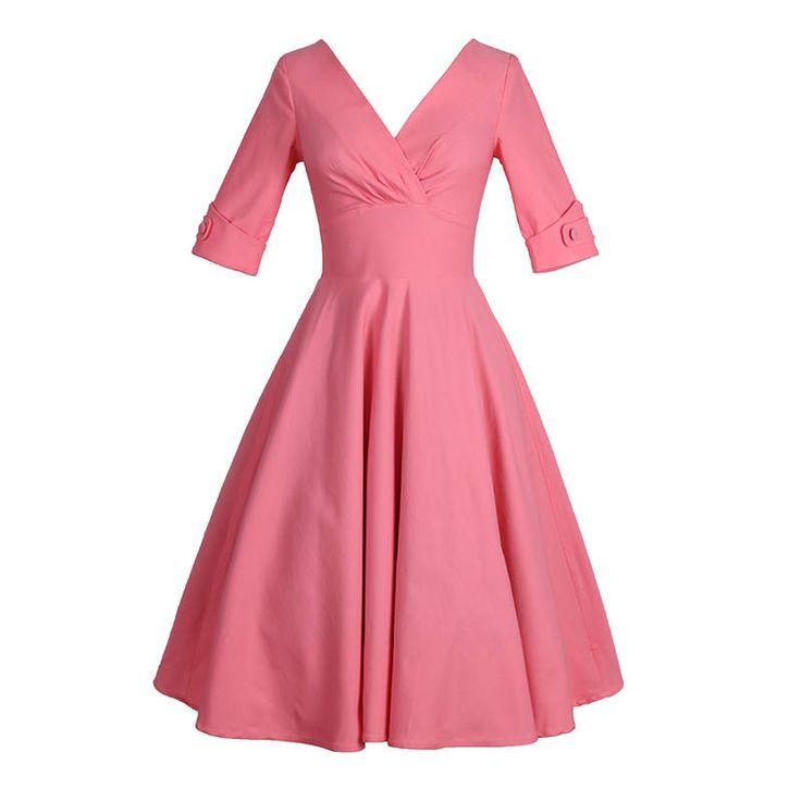 Lindo vestido rosa, vestido manga de codo, V profunda Vestido de cuello, vestido de novia, vestido de Dama de honor, vestido Vintage, amueblada y vestido acampanado MS93 de Meetyou en Etsy https://www.etsy.com/es/listing/522018179/lindo-vestido-rosa-vestido-manga-de-codo