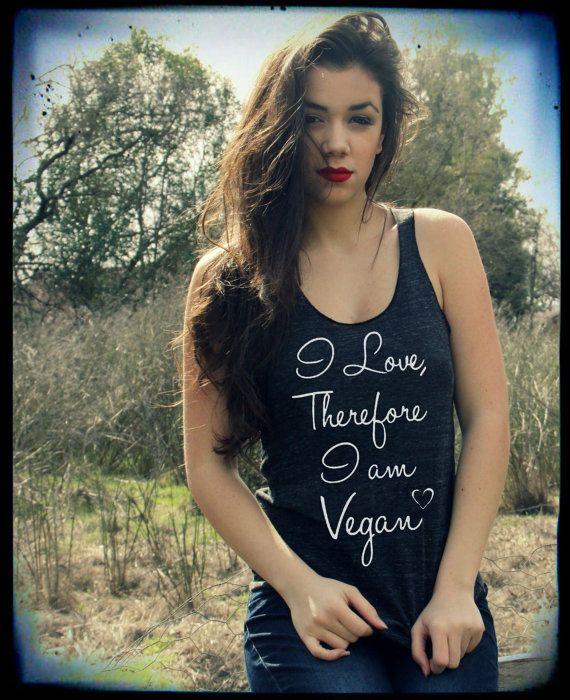 VEGAN quote I Love therefore i am Vegan Ladies Heathered Tank Top Shirt silkscreen screenprint Alternative Apparel