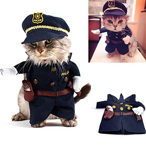 SMALLLEE_LUCKY_STORE Policeman Costume Outfits with Hat Collar Tie Clothes for Small Dog Cat Puppy under 20 pounds S