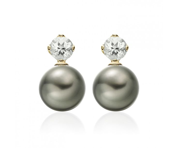 Selected from the Lief Collection, these elegant earrings feature a pair of green beryl stud earrings that have been crafted from 18 carat yellow gold, together with a pair of detachable grey Tahitian pearls that can be additionally worn with the earrings.