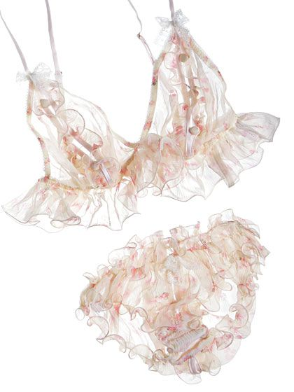 Myla Annabelle peek-a-boo bra/button-back knicker ~ Journelle