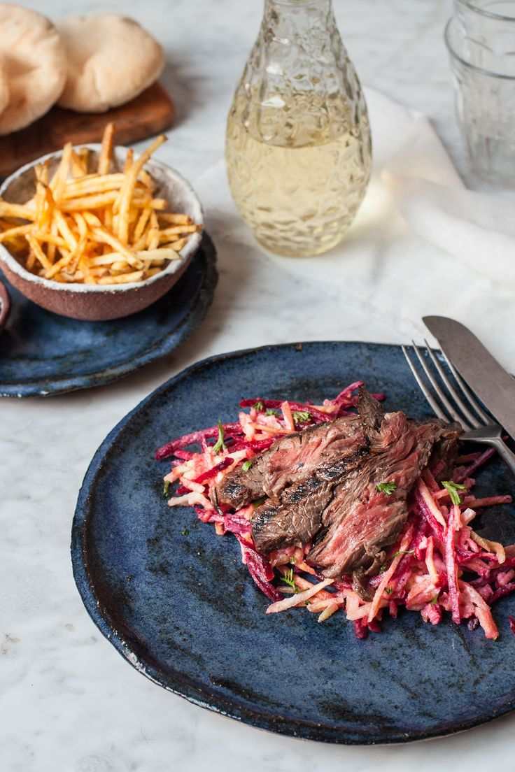 Regula shares her beautiful Irish beef skirt recipe, serving this underused cut as a steak dish with winter coleslaw and deliciously crispy matchstick fries. The colours of the beef with the vibrant root salad make the dish as visually appealing as it is tasty.