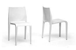 Baxton Studio Blanche Modern White Molded Plastic Dining Chair Set of 2 Blanche Modern White Molded Plastic Dining Chair , wholesale furniture, restaurant furniture, hotel furniture, commercial furniture