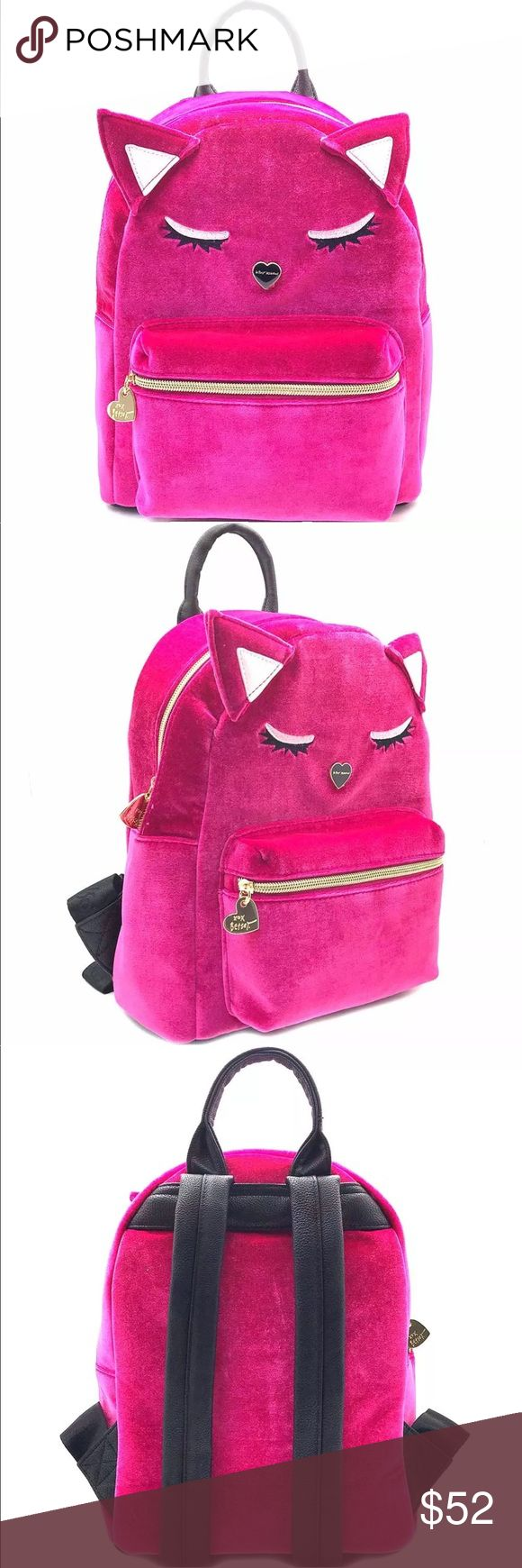 "Betsey Velvet Cat Backpack Brand new with tag. Super cute Pink Cat in velvet material. Very spacious for boxes and a ""15 MacBook. PRICE FIRM! NO TRADES Betsey Johnson Bags Backpacks"