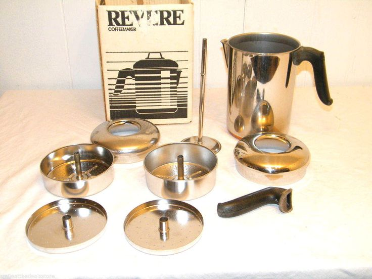 VINTAGE REVERE WARE 8-CUP COPPER PERCOLATOR COFFEE POT CLINTON HILL USA (PARTS) Retro KITCHEN ...