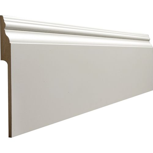 From Lowes: beef up baseboards with molding that fits over existing molding. Use to conceal electric wires, speaker wire etc.!