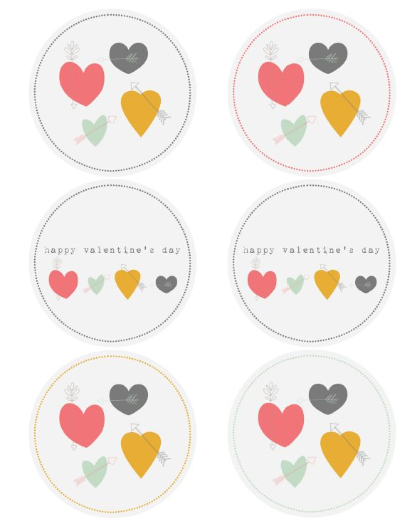 Free Printable Valentines Day Labels - hand drawn by @Catherine Auger