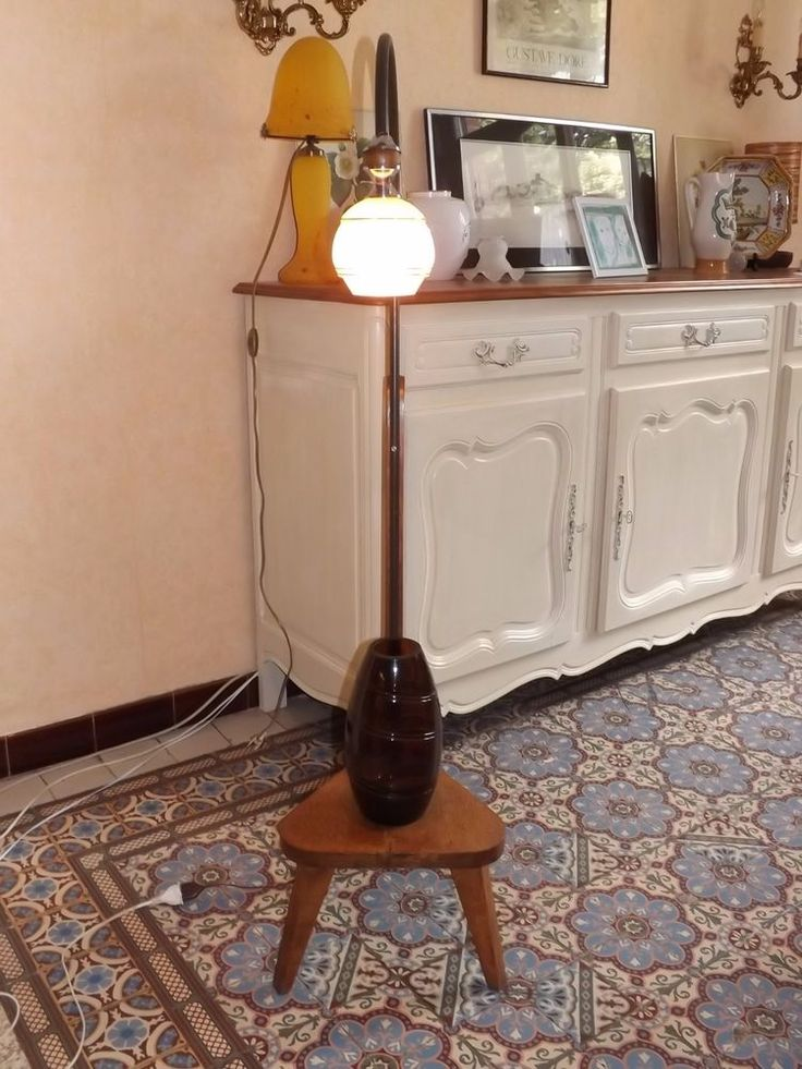lampadaire liseuse chêne vintage 1950