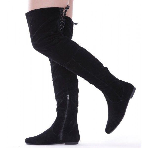 Semišové čižmy nad kolená Black