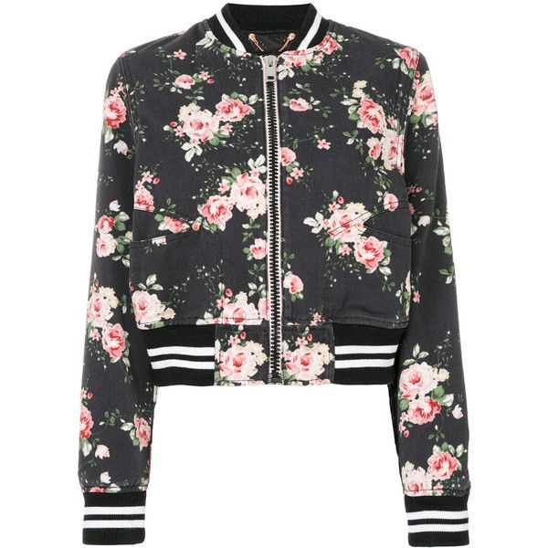 Diesel floral-print bomber jacket ($329) ❤ liked on Polyvore featuring outerwear, jackets, black, floral-print bomber jackets, diesel jacket, cotton jacket, cotton bomber jacket and flight jacket