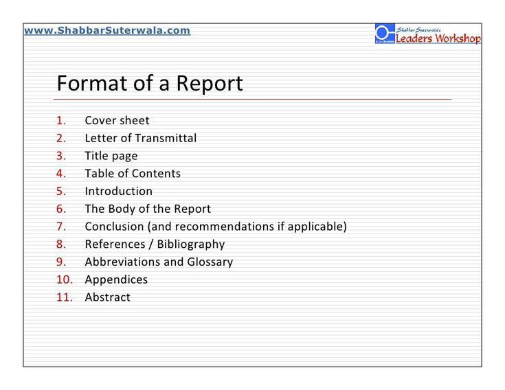 www.ShabbarSuterwala.com              Format of a Report      1.    Cover sheet      2.    Letter of Transmittal      3.    Title ...