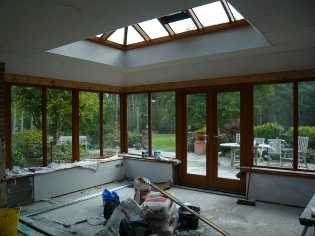 Inside the Orangery and Roof Lantern are plastered and low level electrics are installed.