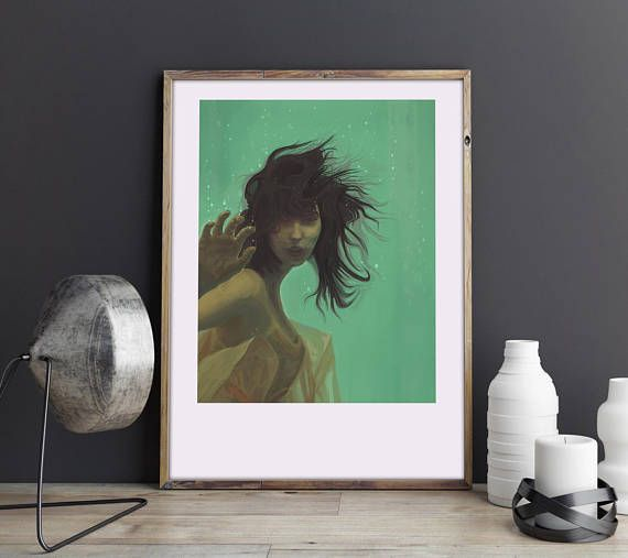 Mint Girl. Illustration art print signed by the artist A3