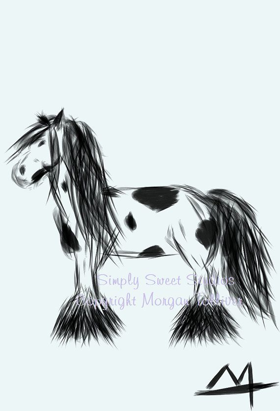 Fine Art Drawing Horse Signed Print Gypsy By