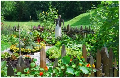 Beautiful backyard vegetable garden example that shows use of flowers mixed with vegetables. Companion planting specific flowers adds beauty, and also provides some organic pest control as well!