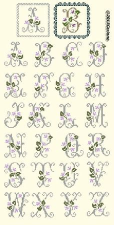 Pretty floral monogram cross stitch pattern