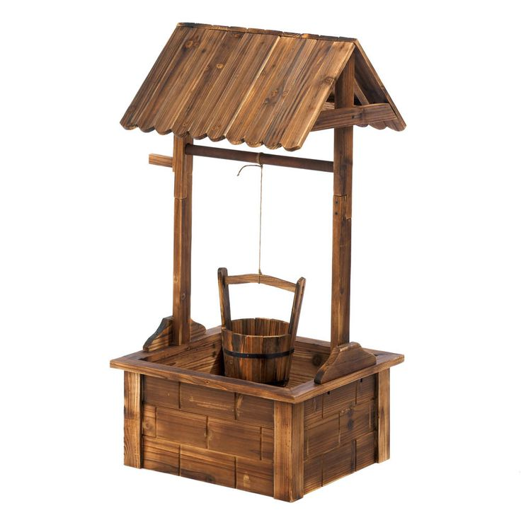 A stunning showcase your favorite summer blooms! This absolutely charming outdoor planter features fir wood construction, a squared wishing well pavilion, and a hanging metal-banded wooden bucket that                                                                                                                                                                                 More