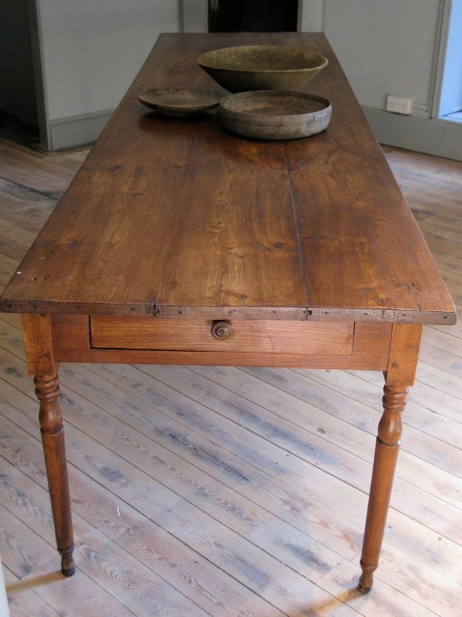 Large 19th Cent French Farmhouse Antique Dining Table In Elm