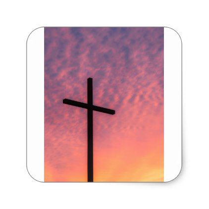cross and sunset square sticker - christmas craft supplies cyo merry xmas santa claus family holidays