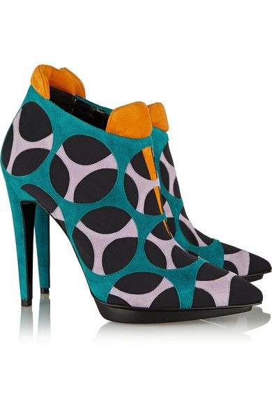 Pierre Hardy Paneled suede and crepe ankle boots FUN!