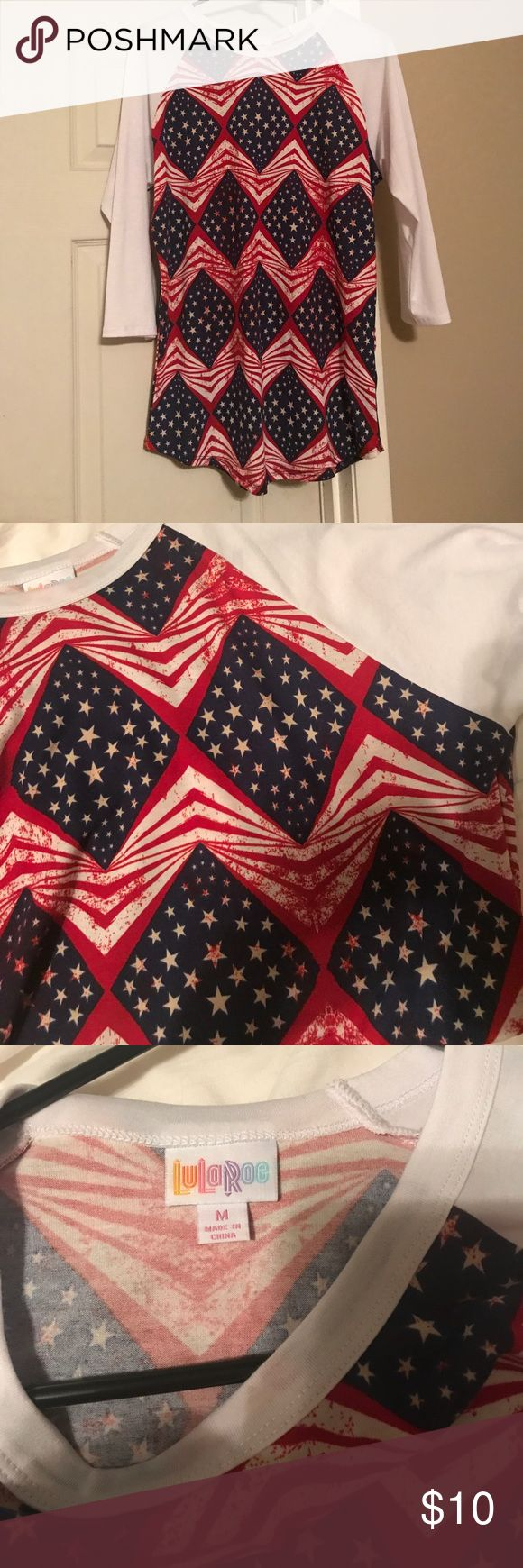 Americana LuLaRoe Randy Shirt Americana LuLaRoe Randy top. Size Medium. These run a little big. Hardly been worn. LuLaRoe Tops