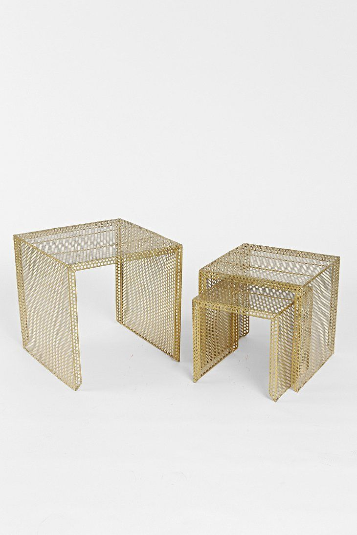 Nested Caged Metal Side Table - Urban Outfitters