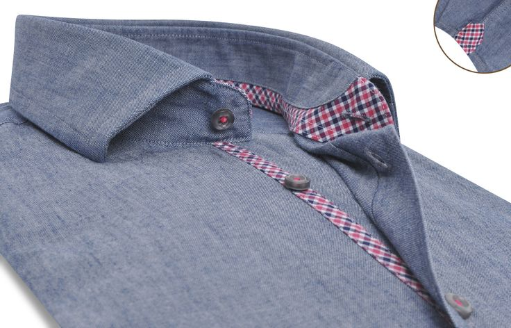 Blue chambray shirt (red checkered lining), Waisted-fit - Dress Shirts for Men - French-Shirts.com